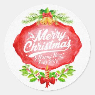 Weihnachten 2018 u. neues Jahr Runder Aufkleber