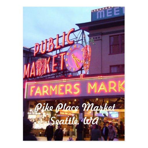 Weihnachten am Pike-Platz-Markt Seattle Postkarte