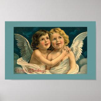 Weihnachten angelt Vintages Kunst-Plakat