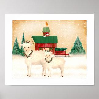 Weihnachten auf dem Schaf-Bauernhof addieren Ihren Poster