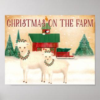 Weihnachten auf den Bauernhofschafen wirft, Wollen Poster