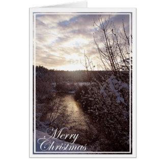 Weihnachten auf der Spokane-Fluss-Gruß-Karte Karte