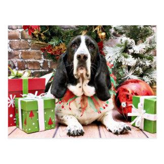 Weihnachten - Basset Hound - Jasmin Postkarte