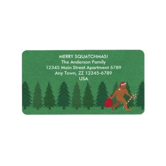 Weihnachten Bigfoot Sasquatch Sankt Squatch lustig Adressaufkleber