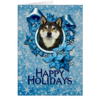 Weihnachten - blaue Schneeflocke - Shiba Inus - Karte