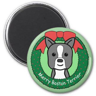 Weihnachten Bostons Terrier Runder Magnet 5,7 Cm