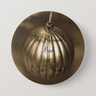 Weihnachten bronzierter Verzierungs-Namensschild Runder Button 7,6 Cm