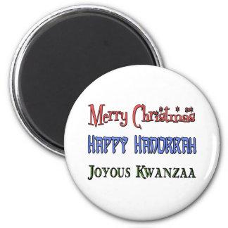 Weihnachten - Chanukka - Kwanzaa Runder Magnet 5,7 Cm