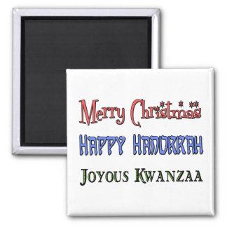 Weihnachten - Chanukka - Kwanzaa Quadratischer Magnet