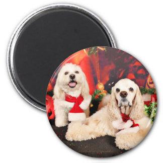 Weihnachten - Cockerspaniel - Toby, Havanese - Runder Magnet 5,1 Cm