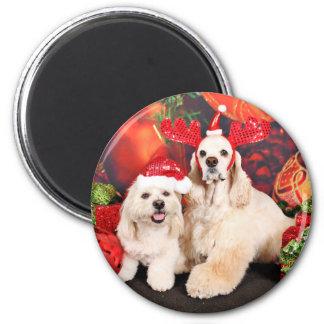 Weihnachten - Cockerspaniel - Toby, Havanese - Runder Magnet 5,7 Cm