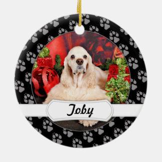 Weihnachten - Cockerspaniel - Toby, Havanese - Rundes Keramik Ornament