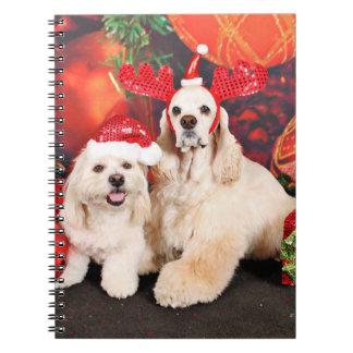 Weihnachten - Cockerspaniel - Toby, Havanese - Spiral Notizblock