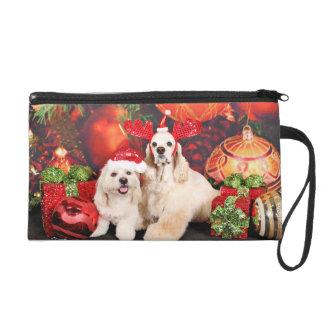 Weihnachten - Cockerspaniel - Toby, Havanese - Wristlet Handtasche