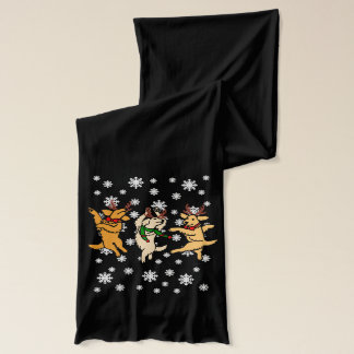 Weihnachten, das goldene Retriever tanzt Schal