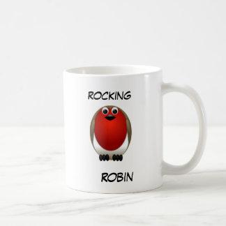 Weihnachten, das Robin schaukelt Kaffeetasse