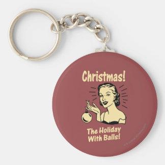 Weihnachten: Der Feiertag mit Bällen Schlüsselanhänger