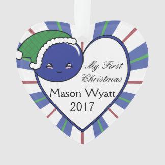 Weihnachten des Kawaii Blaubeerkorb-(Junge) Ornament