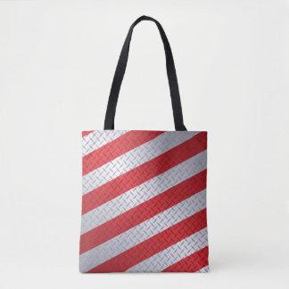 Weihnachten Diamondplate mit roten Streifen Tasche