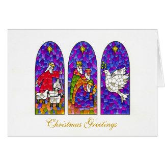 Weihnachten drei Buntglasfenster Karte