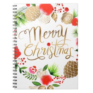 Weihnachten, Feiertage, Dekorationen, Feier Spiral Notizblock