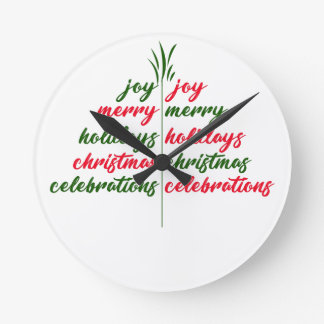 Weihnachten-Festlich-Baum Runde Wanduhr