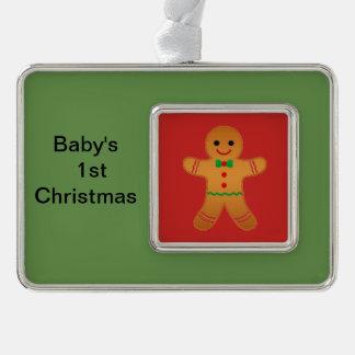 Weihnachten für das erste Weihnachten des Babys Rahmen-Ornament Silber