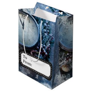 Weihnachten gefrorene Stempeluhr Mittlere Geschenktüte