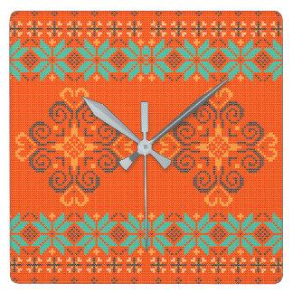 Weihnachten gestricktes Muster Quadratische Wanduhr