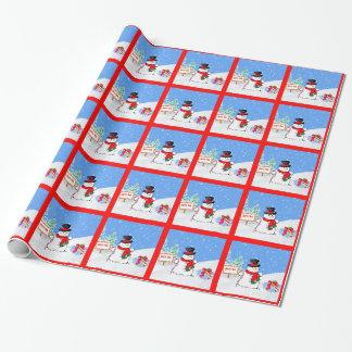 Weihnachten, glücklicher Schneemann bei Nordpol Einpackpapier