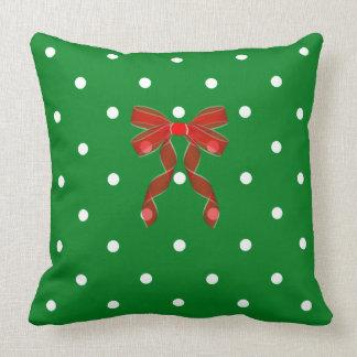 Weihnachten-Grün-Polka-Punkt-Rot-Bogen Kissen