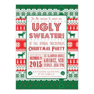 Weihnachten - hässliche Strickjacke - klebrig - 14 X 19,5 Cm Einladungskarte