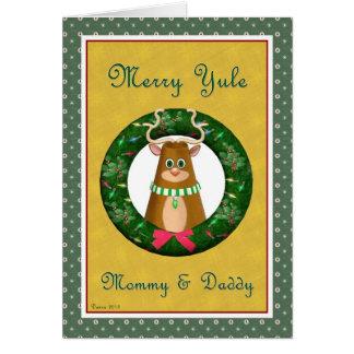 Weihnachten-Hirschwreath-Mama-und Vati-leere Karte