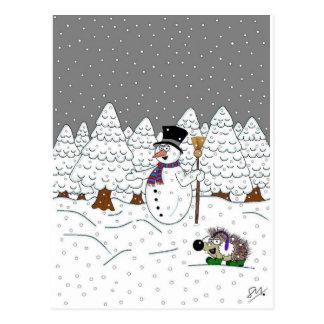 Weihnachten im magischen Baum-Holz Postkarte