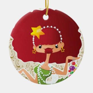 Weihnachten im Rot Rundes Keramik Ornament