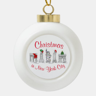 Weihnachten in den Feiertags-Sehenswürdigkeiten Keramik Kugel-Ornament
