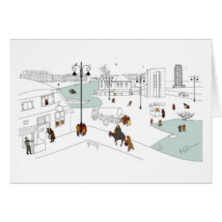 Weihnachten in der modernen Stadt Karte