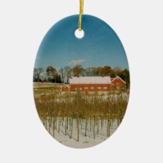 Weihnachten in Neu-England Ovales Keramik Ornament