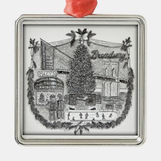 Weihnachten in New- Yorkverzierung Silbernes Ornament