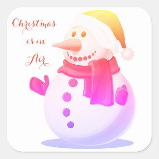 Weihnachten ist im Luftaufkleber Quadratischer Aufkleber