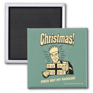 Weihnachten: Karo heraus mein Paket Quadratischer Magnet
