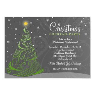 Weihnachten laden der sternenklare Nacht311 Grau 12,7 X 17,8 Cm Einladungskarte