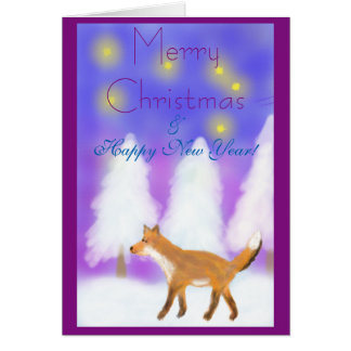 Weihnachten mit einem Fuchs, Sternen u. Karte