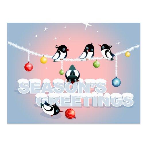 Weihnachten mit Elstern, Blasen, Schnee Postkarten