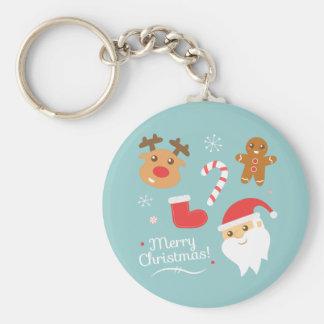 Weihnachten mit Sankt, Ren, Lebkuchen-Mann Schlüsselanhänger
