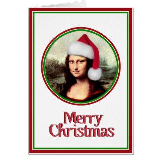 Weihnachten Mona Lisa mit Weihnachtsmannmütze Karte