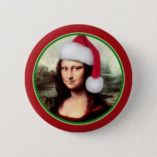 Weihnachten Mona Lisa mit Weihnachtsmannmütze Runder Button 5,7 Cm