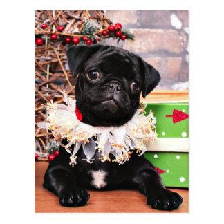 Weihnachten - Mops - Gänseblümchen Mae Postkarten