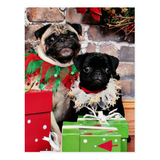 Weihnachten - Mops - Gänseblümchen Mae und Lilie L Postkarten