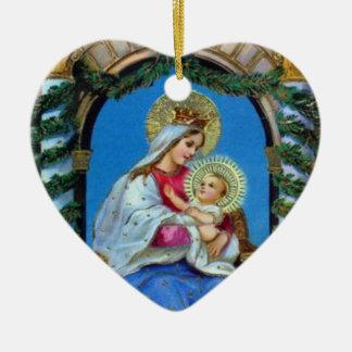 Weihnachten - Mutter Mary und Jesus Keramik Ornament